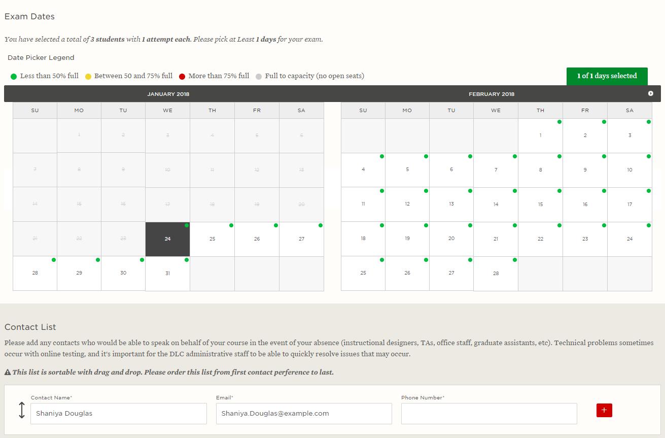 Exam dates screen capture