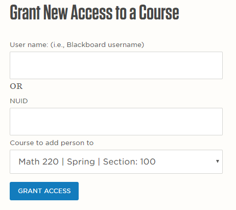 Grant new access to a course screen capture