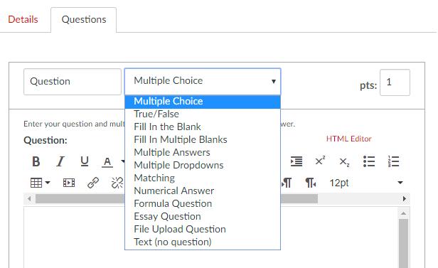 Question type dropdown screen capture