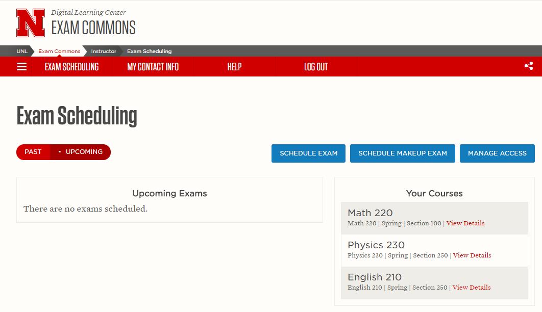 Exam scheduling screen capture