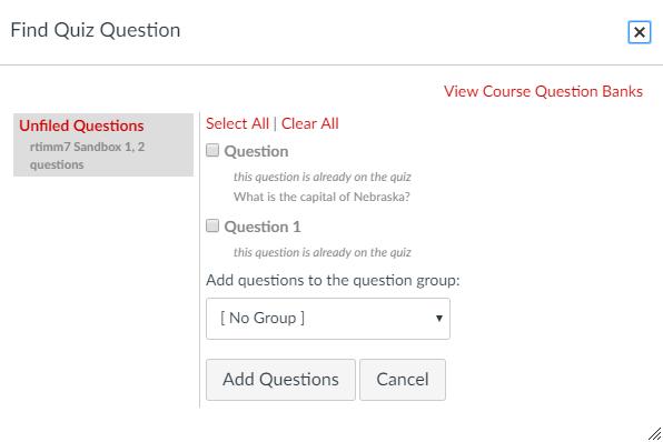 View course question banks screen capture