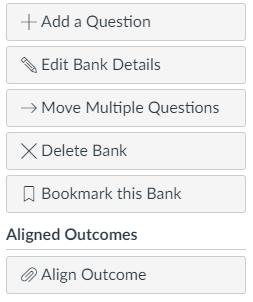 Course question bank options screen capture