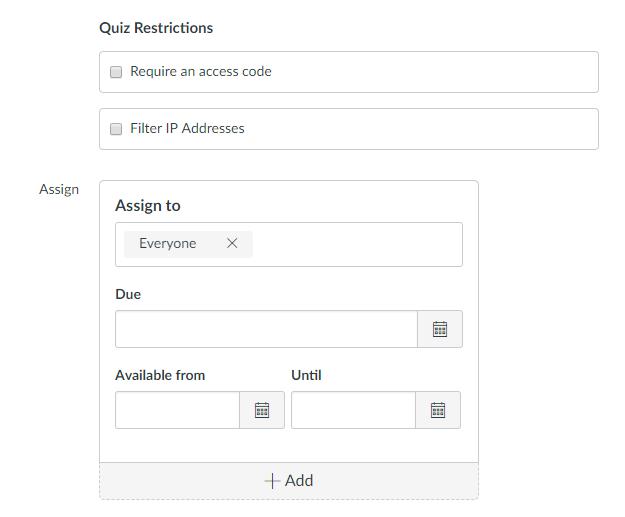 Quiz restrictions screen capture
