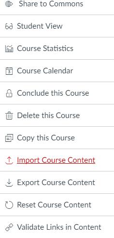 Import course content screen capture