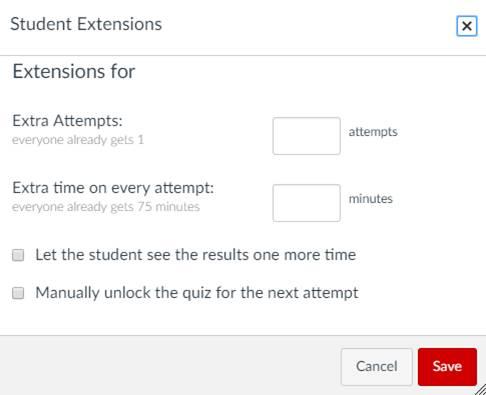 Quiz time extension screen capture